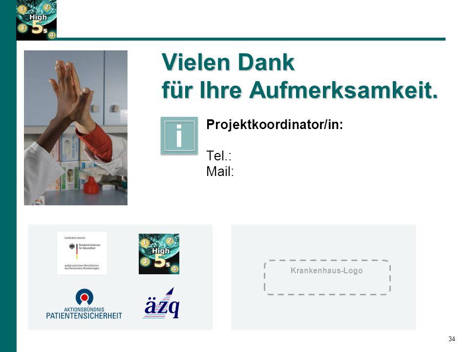 34 Vielen Dank für Ihre Aufmerksamkeit. Projektkoordinator/in: Tel.: Mail: i i Krankenhaus-Logo