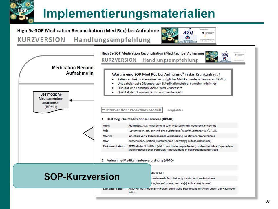 Implementierungsmaterialien 37 SOP-Kurzversion
