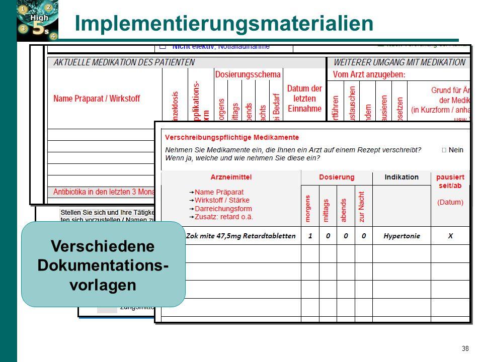 Implementierungsmaterialien 38 SOP-Kurzversion Tipps für die BPMH-Umsetzung Befragungsleitfaden für die BPMH Verschiedene Dokumentations- vorlagen