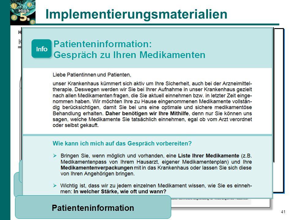 Implementierungsmaterialien SOP-Kurzversion Tipps für die BPMH-Umsetzung Befragungsleitfaden für die BPMH 41 Patienteninformation