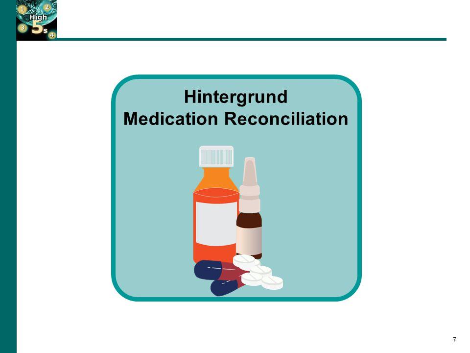 Auftreten von Medikationsfehlern 8 Besonders anfällige Schnittstellen: 1.Krankenhausaufnahme 2.Verlegung innerhalb des Krankenhauses 3.Krankenhausentlassung