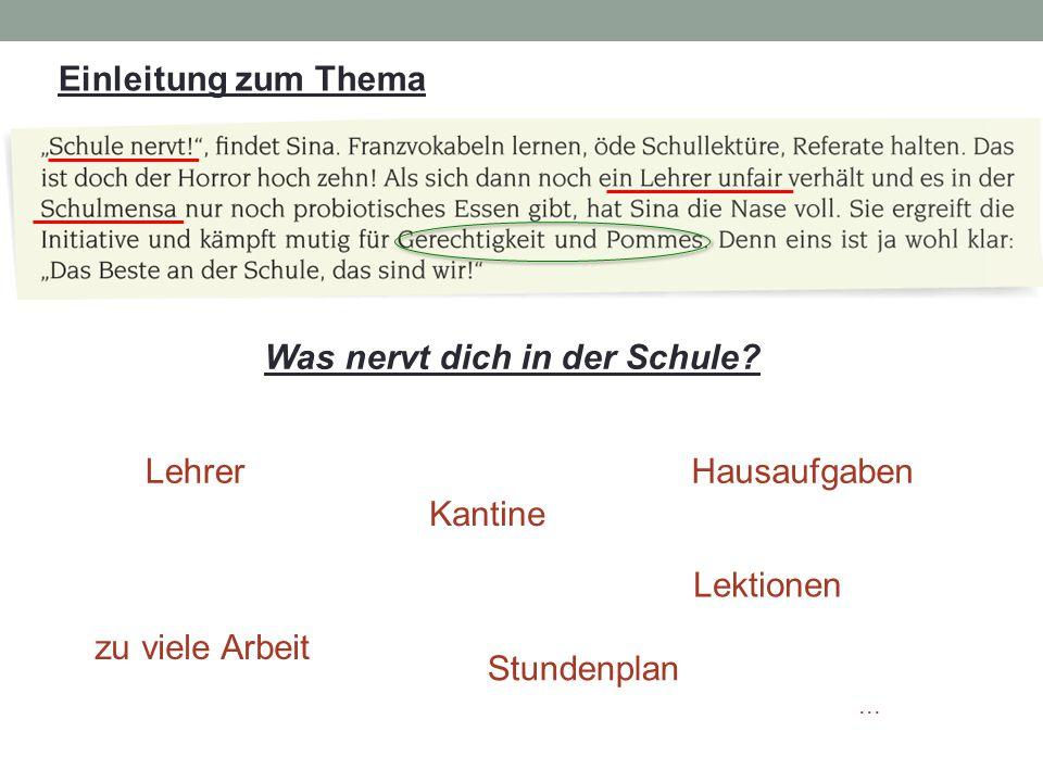 """"""" Die Schule und ich Auszug 1 : Wie reagieren die Schüler auf die Schließung der alten Kantine / die Eröffnung einer Bio-Kantine."""