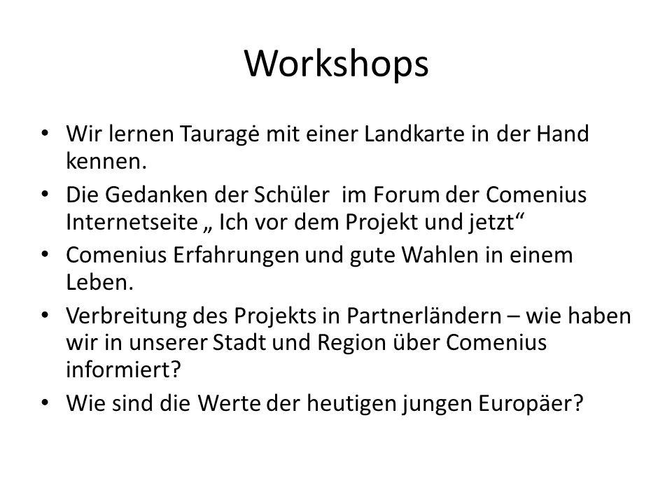 Workshops Wir lernen Tauragė mit einer Landkarte in der Hand kennen.