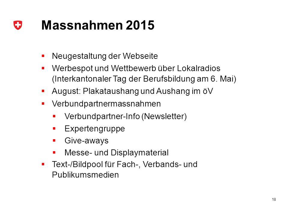 Massnahmen 2015  Neugestaltung der Webseite  Werbespot und Wettbewerb über Lokalradios (Interkantonaler Tag der Berufsbildung am 6.