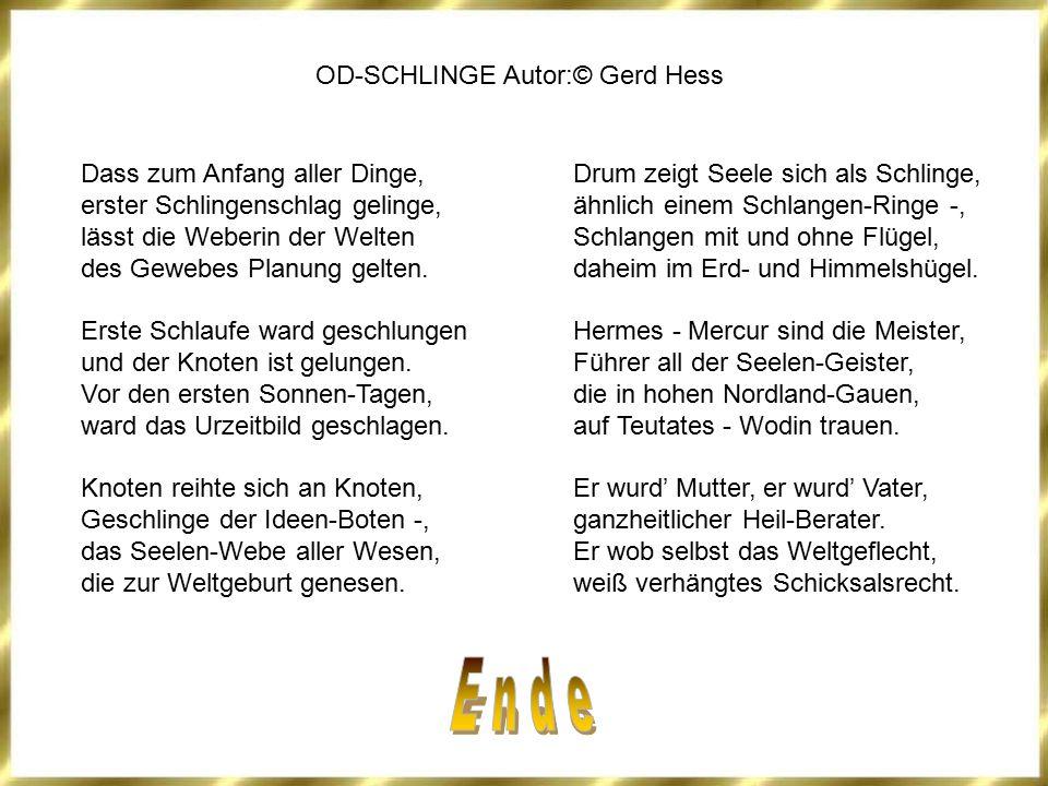 OD-SCHLINGE Autor:© Gerd Hess Dass zum Anfang aller Dinge, erster Schlingenschlag gelinge, lässt die Weberin der Welten des Gewebes Planung gelten. Er