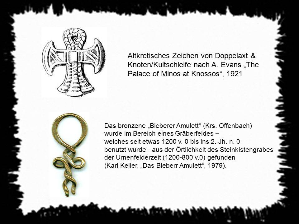 """Altkretisches Zeichen von Doppelaxt & Knoten/Kultschleife nach A. Evans """"The Palace of Minos at Knossos"""", 1921 Das bronzene """"Bieberer Amulett"""" (Krs. O"""