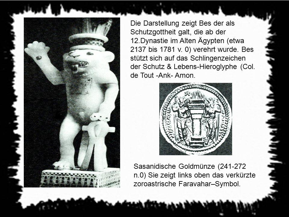 Die Darstellung zeigt Bes der als Schutzgottheit galt, die ab der 12.Dynastie im Alten Ägypten (etwa 2137 bis 1781 v. 0) verehrt wurde. Bes stützt sic