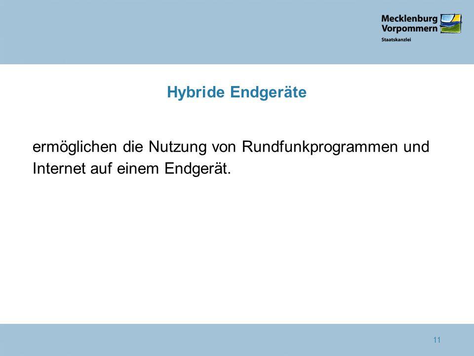 Hybride Endgeräte ermöglichen die Nutzung von Rundfunkprogrammen und Internet auf einem Endgerät. 11