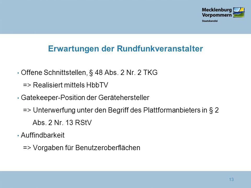 Erwartungen der Rundfunkveranstalter Offene Schnittstellen, § 48 Abs. 2 Nr. 2 TKG => Realisiert mittels HbbTV Gatekeeper-Position der Gerätehersteller