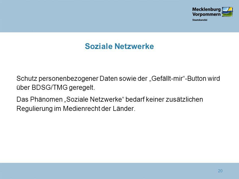 """Soziale Netzwerke Schutz personenbezogener Daten sowie der """"Gefällt-mir -Button wird über BDSG/TMG geregelt."""