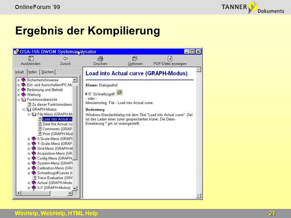 OnlineForum ´99 21WinHelp, WebHelp, HTML Help Ergebnis der Kompilierung
