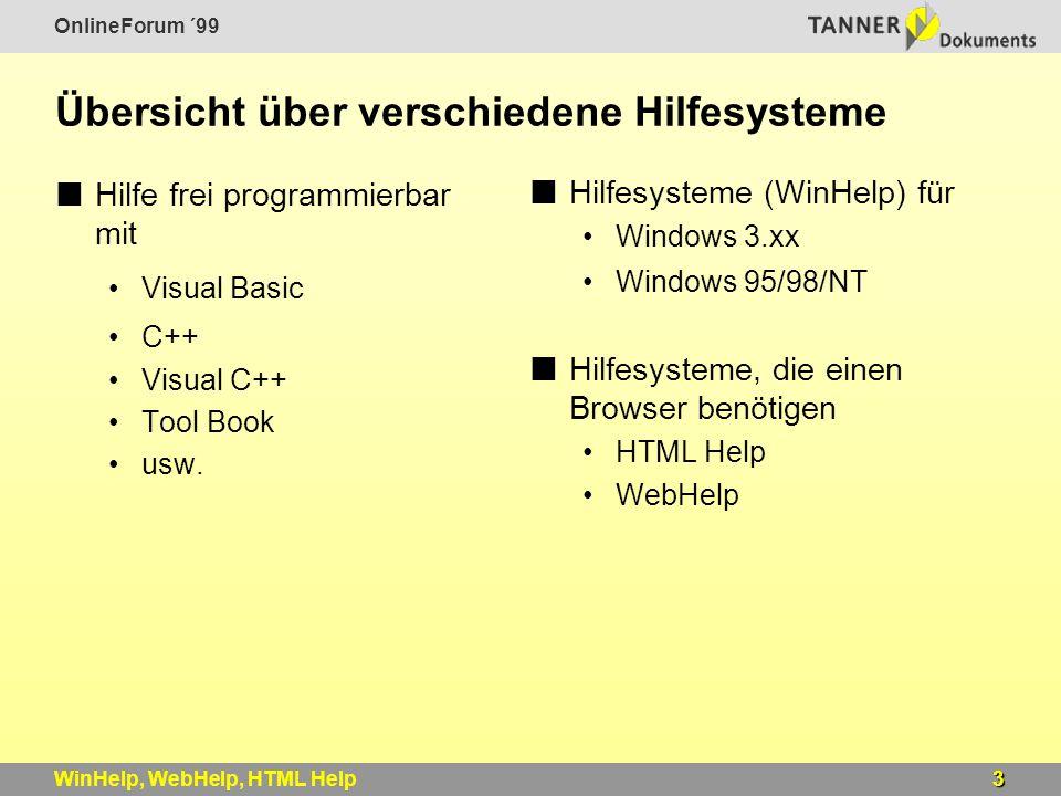 OnlineForum ´99 3WinHelp, WebHelp, HTML Help Übersicht über verschiedene Hilfesysteme Hilfe frei programmierbar mit Visual Basic C++ Visual C++ Tool Book usw.