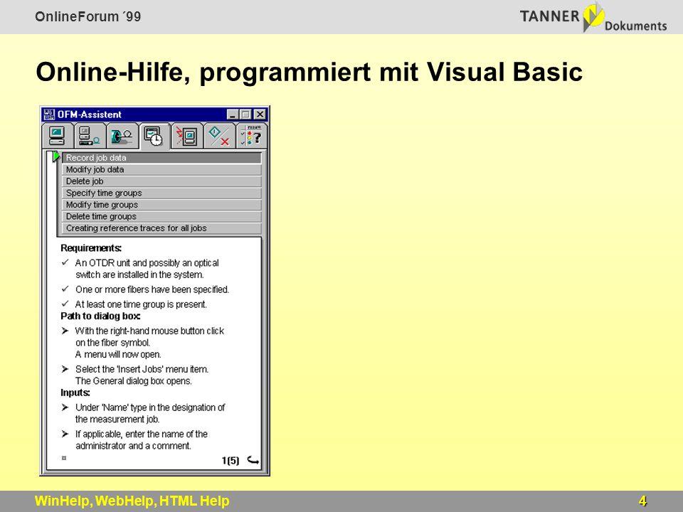 OnlineForum ´99 4WinHelp, WebHelp, HTML Help Online-Hilfe, programmiert mit Visual Basic