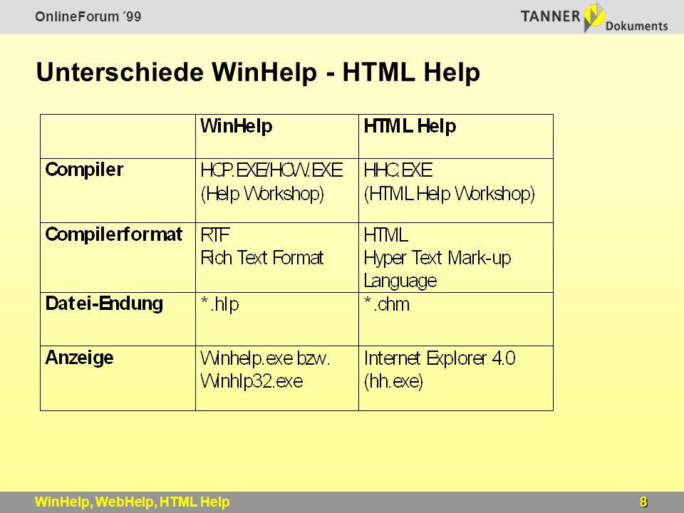 OnlineForum ´99 8WinHelp, WebHelp, HTML Help Unterschiede WinHelp - HTML Help