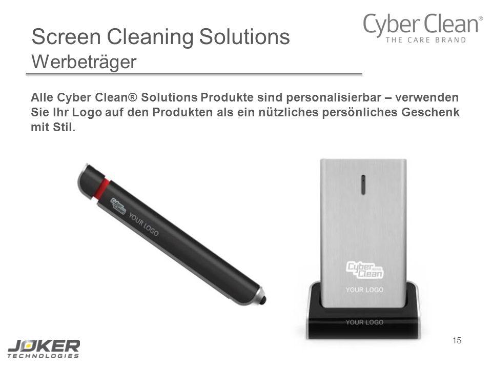 15 Screen Cleaning Solutions Werbeträger Alle Cyber Clean® Solutions Produkte sind personalisierbar – verwenden Sie Ihr Logo auf den Produkten als ein