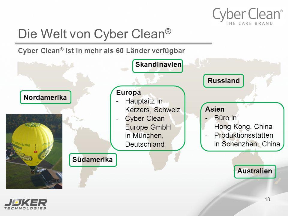 PRESENTATION SUBTITLE PRESENTATION TITLE Version 1.0 16-05-2011 presents 18 Die Welt von Cyber Clean ® Cyber Clean ® ist in mehr als 60 Länder verfügb