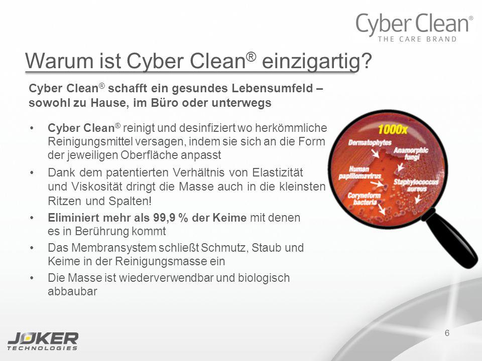 PRESENTATION SUBTITLE PRESENTATION TITLE Version 1.0 16-05-2011 presents 6 Warum ist Cyber Clean ® einzigartig? Cyber Clean ® schafft ein gesundes Leb