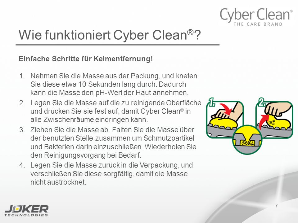 PRESENTATION SUBTITLE PRESENTATION TITLE Version 1.0 16-05-2011 presents 7 Wie funktioniert Cyber Clean ® .