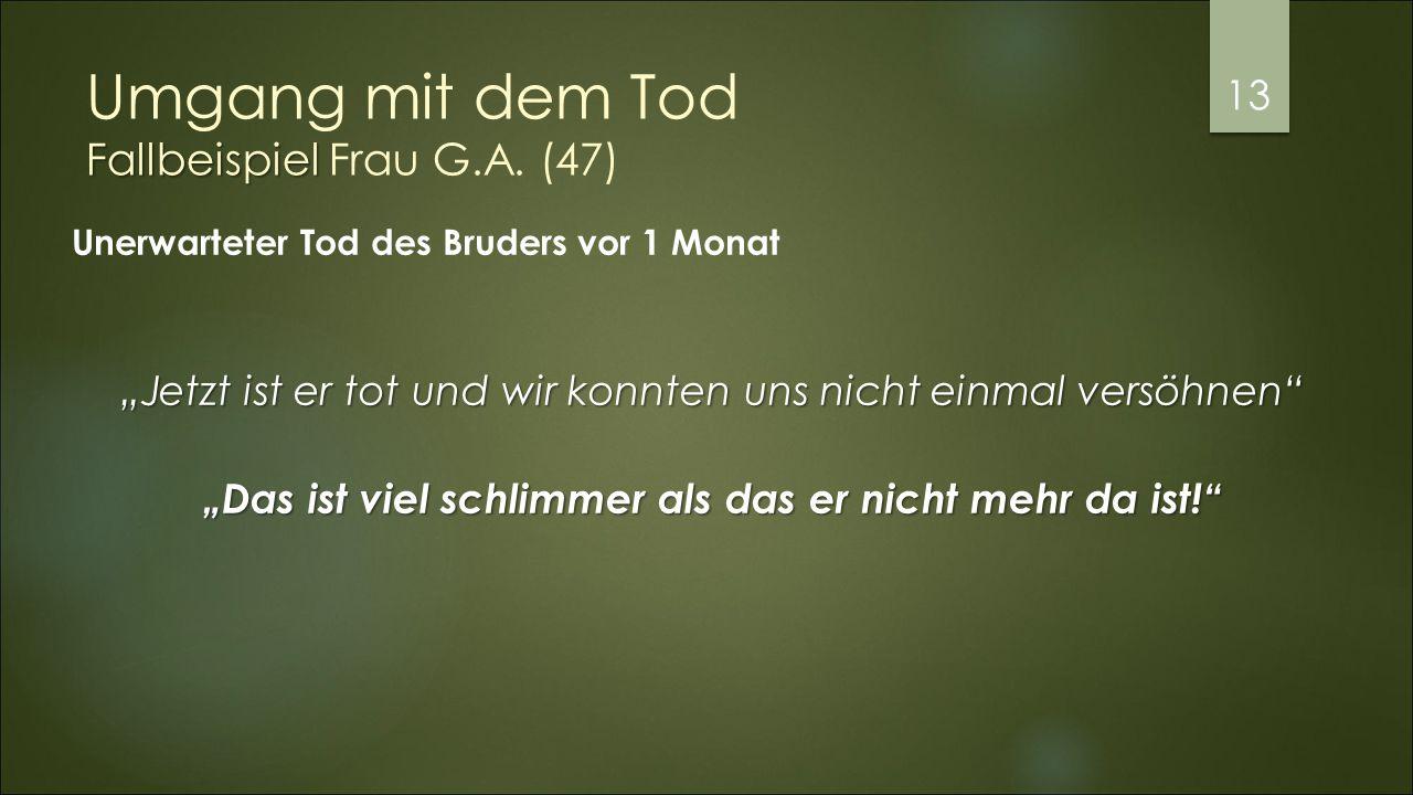 Fallbeispiel Umgang mit dem Tod Fallbeispiel Frau G.A.