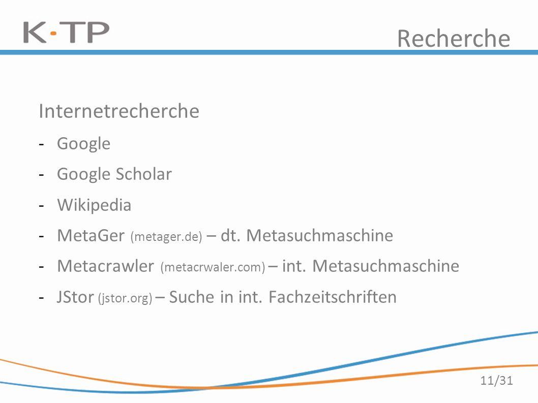 11/31 Recherche Internetrecherche -Google -Google Scholar -Wikipedia -MetaGer (metager.de) – dt. Metasuchmaschine -Metacrawler (metacrwaler.com) – int
