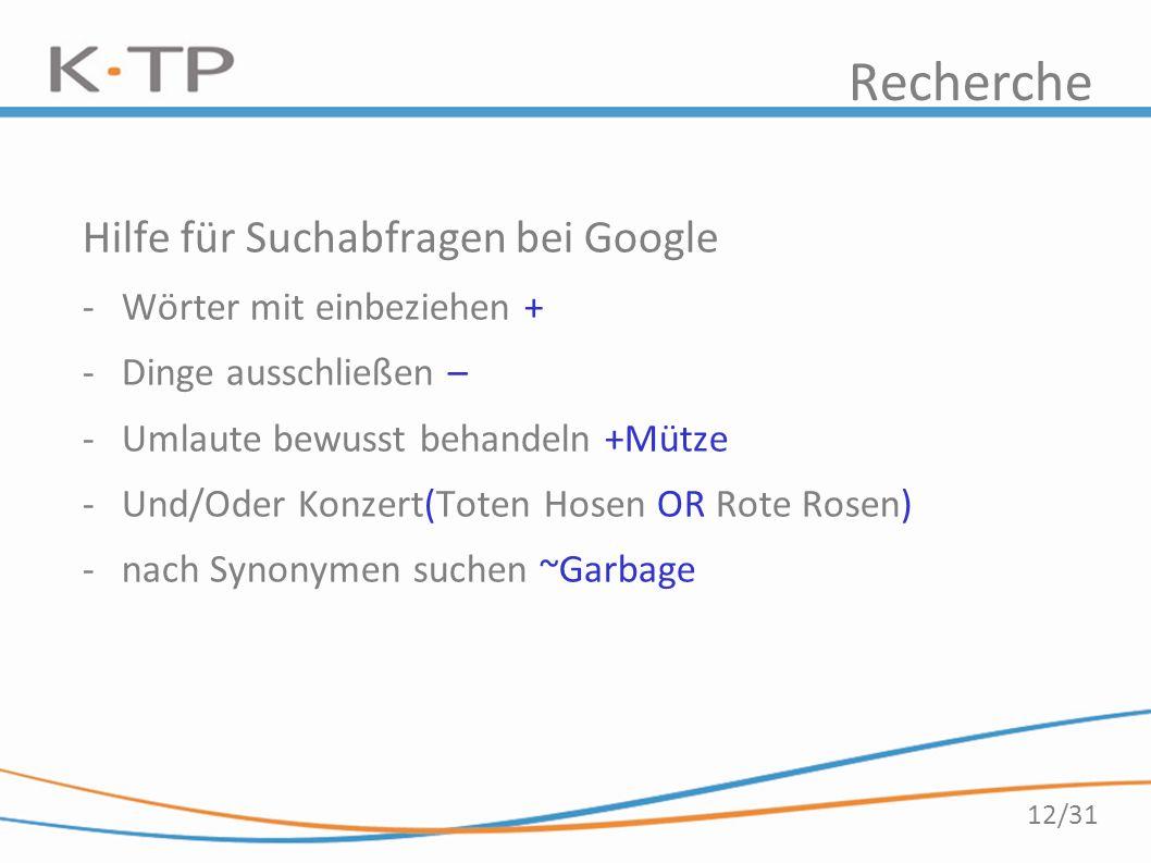 12/31 Recherche Hilfe für Suchabfragen bei Google -Wörter mit einbeziehen + -Dinge ausschließen – -Umlaute bewusst behandeln +Mütze -Und/Oder Konzert(