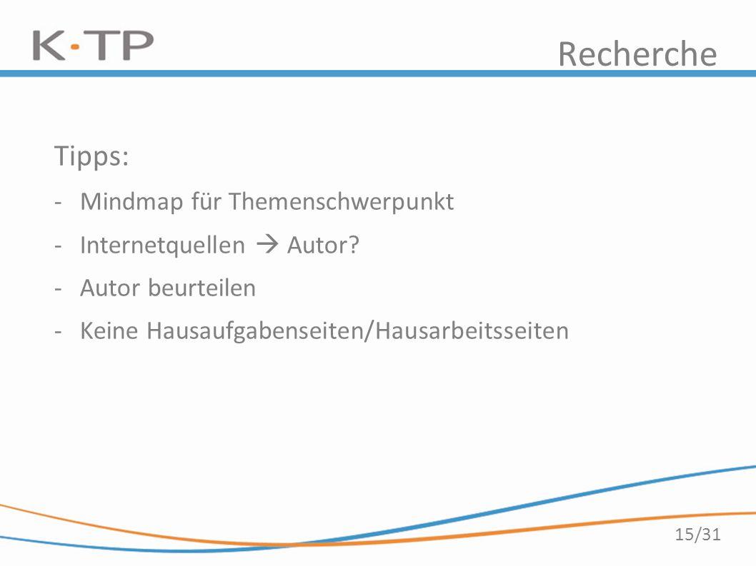 15/31 Recherche Tipps: -Mindmap für Themenschwerpunkt -Internetquellen  Autor? -Autor beurteilen -Keine Hausaufgabenseiten/Hausarbeitsseiten