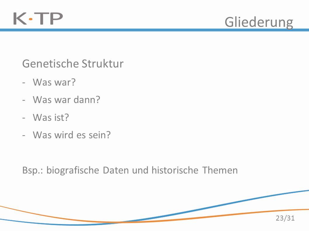 23/31 Gliederung Genetische Struktur -Was war? -Was war dann? -Was ist? -Was wird es sein? Bsp.: biografische Daten und historische Themen