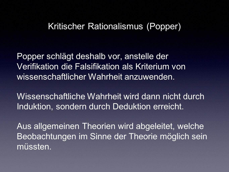 Kritischer Rationalismus (Popper) Popper schlägt deshalb vor, anstelle der Verifikation die Falsifikation als Kriterium von wissenschaftlicher Wahrhei
