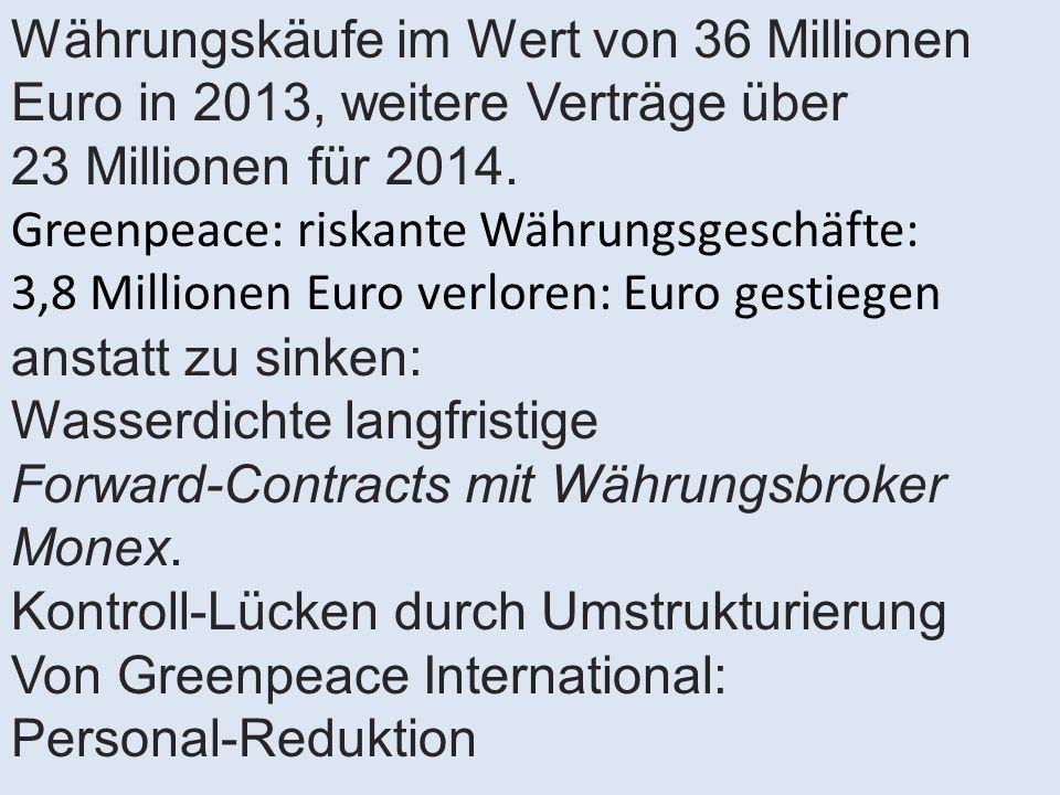 Währungskäufe im Wert von 36 Millionen Euro in 2013, weitere Verträge über 23 Millionen für 2014. Greenpeace: riskante Währungsgeschäfte: 3,8 Millione