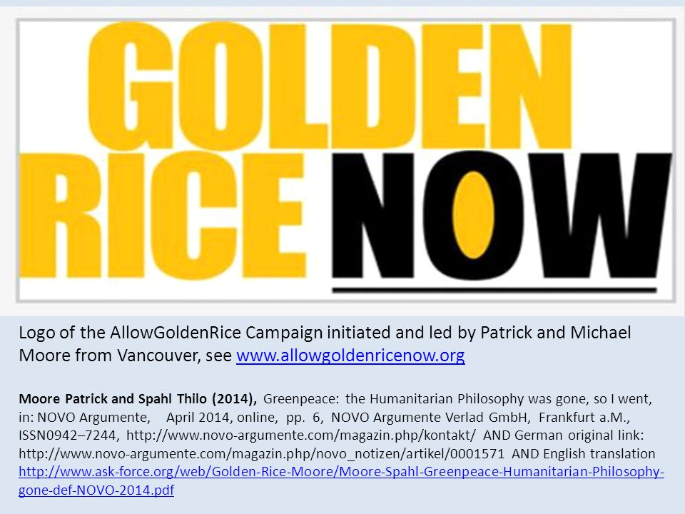 Logo of the AllowGoldenRice Campaign initiated and led by Patrick and Michael Moore from Vancouver, see www.allowgoldenricenow.orgwww.allowgoldenricen