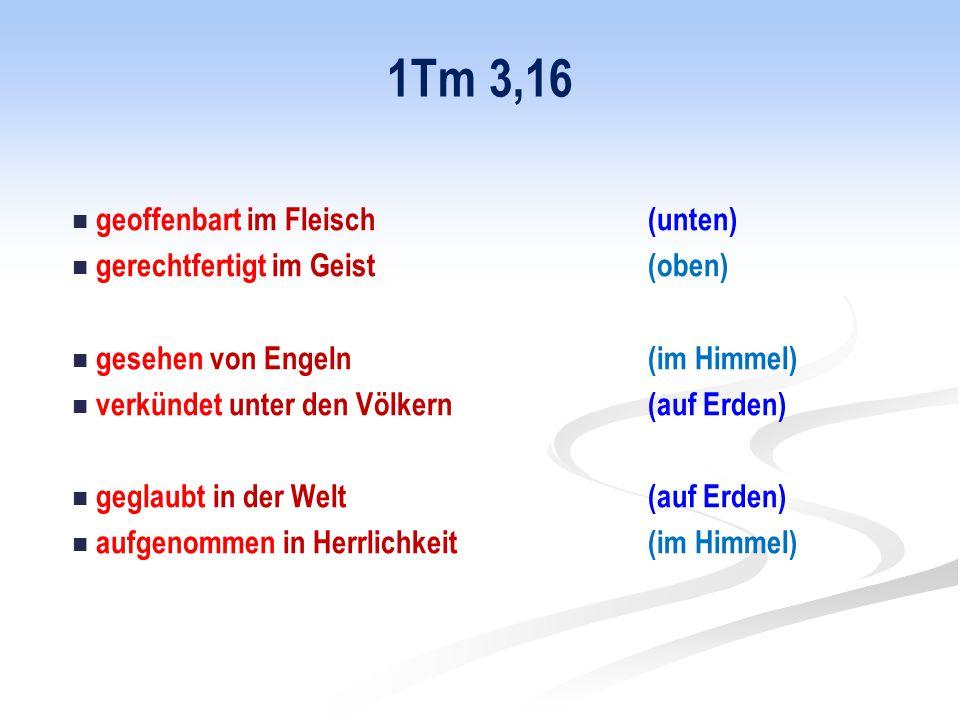 1Tm 3,16 geoffenbart im Fleisch (unten) gerechtfertigt im Geist (oben) gesehen von Engeln (im Himmel) verkündet unter den Völkern (auf Erden) geglaubt in der Welt (auf Erden) aufgenommen in Herrlichkeit (im Himmel)