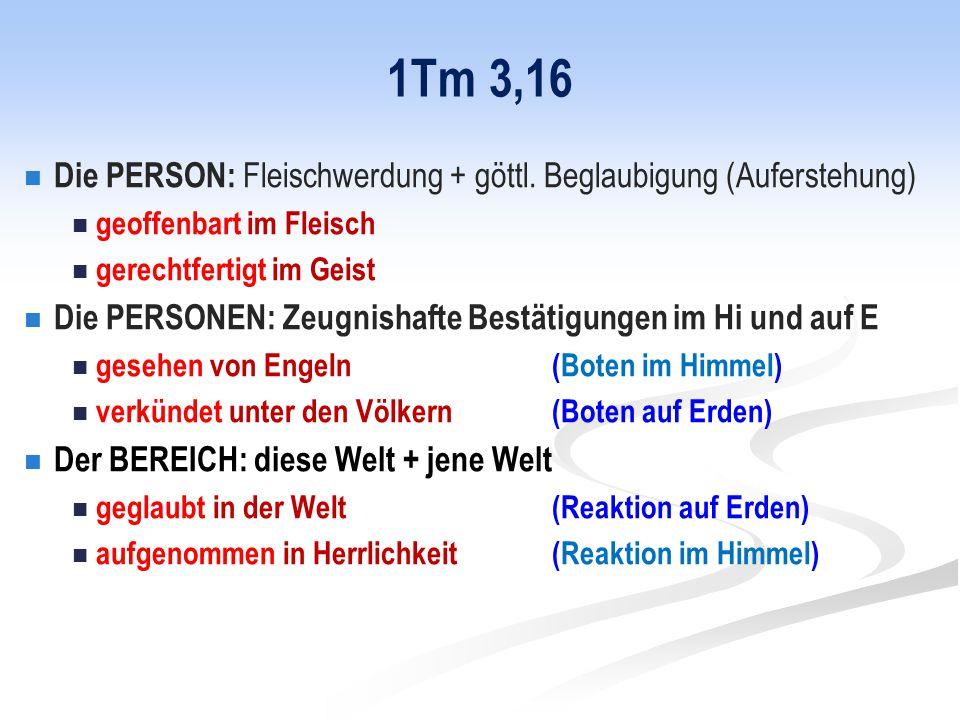 1Tm 3,16 Die PERSON: Fleischwerdung + göttl.