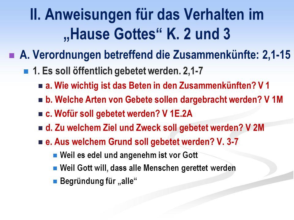 """II. Anweisungen für das Verhalten im """"Hause Gottes K."""