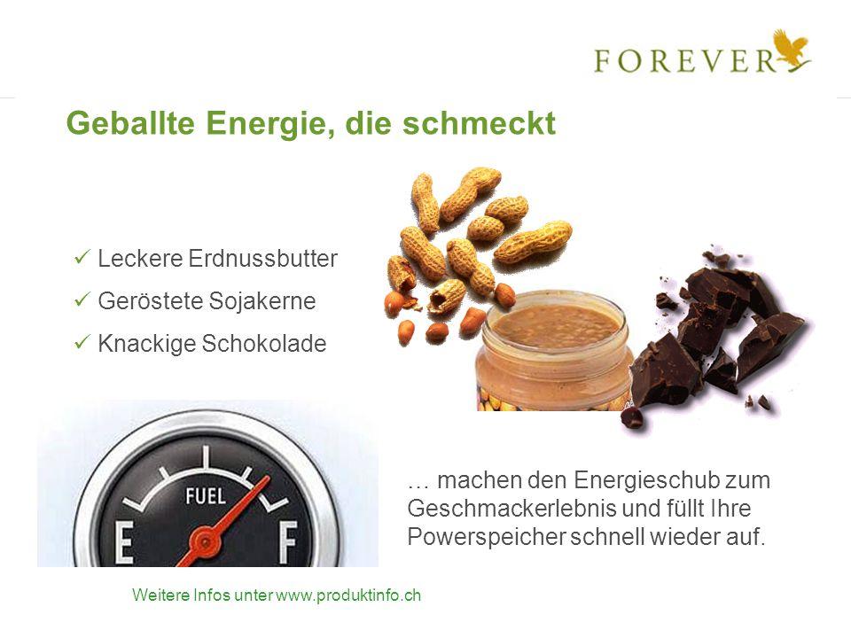 Geballte Energie, die schmeckt Leckere Erdnussbutter Geröstete Sojakerne Knackige Schokolade … machen den Energieschub zum Geschmackerlebnis und füllt Ihre Powerspeicher schnell wieder auf.