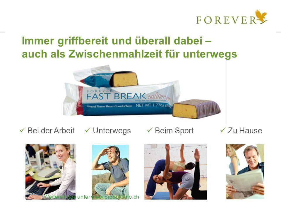 Unterwegs Bei der Arbeit Beim Sport Zu Hause Immer griffbereit und überall dabei – auch als Zwischenmahlzeit für unterwegs Weitere Infos unter www.produktinfo.ch