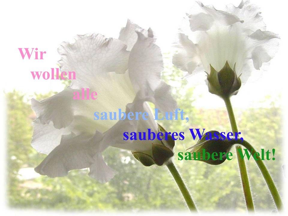Wir wollen alle saubere Luft, sauberes Wasser, saubere Welt!