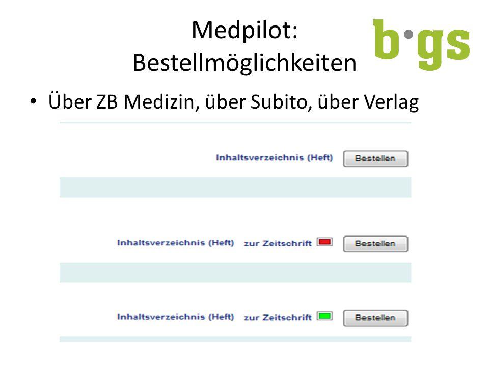 Medpilot: Bestellmöglichkeiten Über ZB Medizin, über Subito, über Verlag