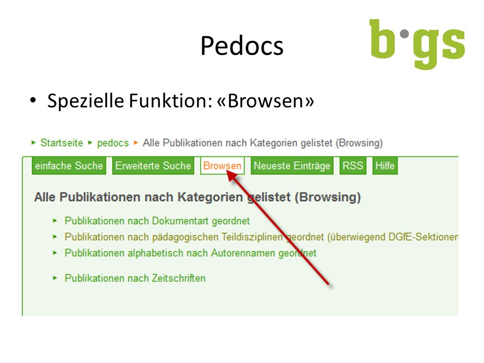 Pedocs Spezielle Funktion: «Browsen»