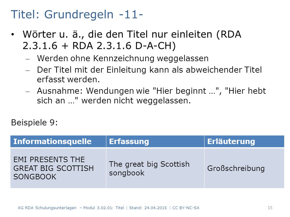 Titel: Grundregeln -11- Wörter u. ä., die den Titel nur einleiten (RDA 2.3.1.6 + RDA 2.3.1.6 D-A-CH) Werden ohne Kennzeichnung weggelassen Der Titel