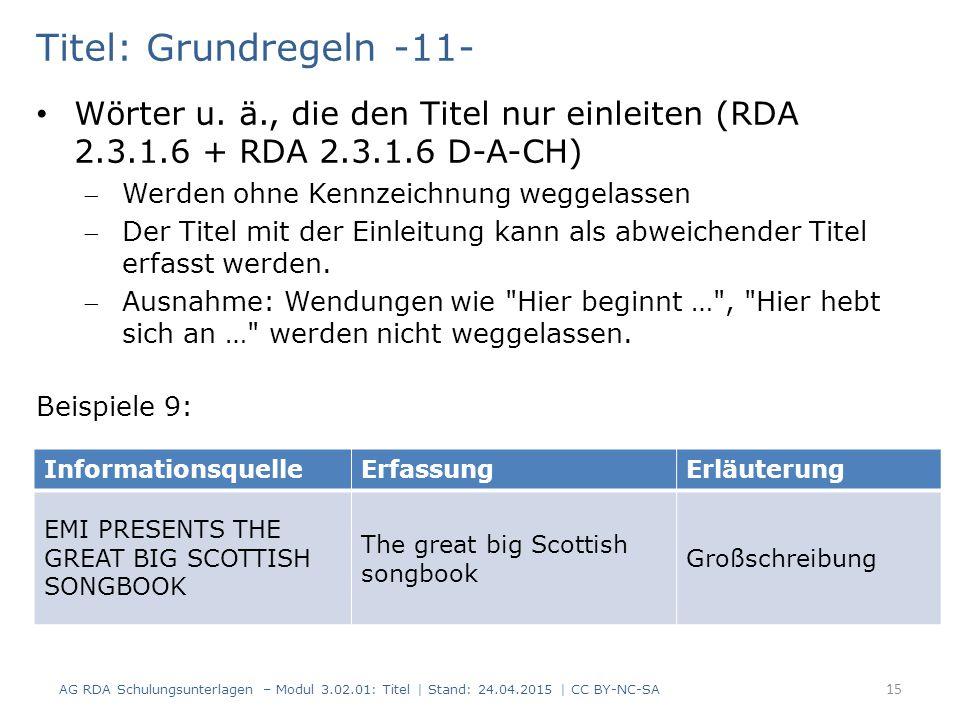 Titel: Grundregeln -11- Wörter u.