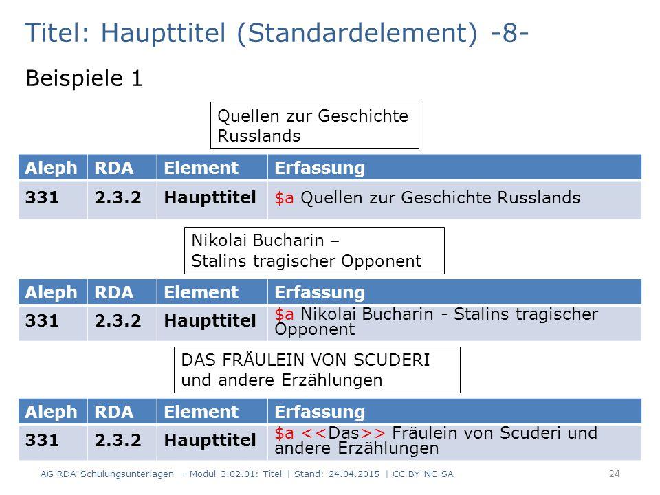 Titel: Haupttitel (Standardelement) -8- Beispiele 1 AG RDA Schulungsunterlagen – Modul 3.02.01: Titel | Stand: 24.04.2015 | CC BY-NC-SA 24 Quellen zur