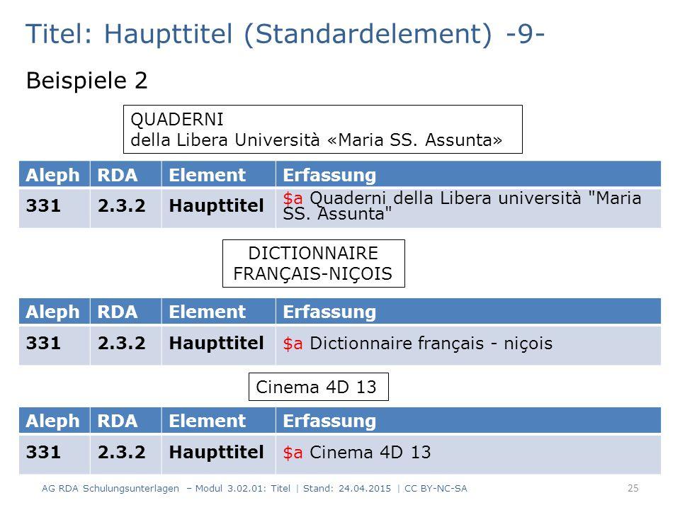 Titel: Haupttitel (Standardelement) -9- Beispiele 2 AG RDA Schulungsunterlagen – Modul 3.02.01: Titel | Stand: 24.04.2015 | CC BY-NC-SA 25 QUADERNI della Libera Università «Maria SS.