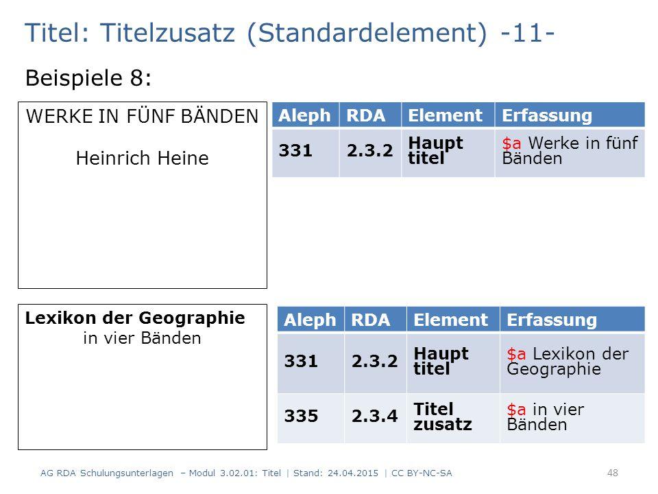 Titel: Titelzusatz (Standardelement) -11- Beispiele 8: AG RDA Schulungsunterlagen – Modul 3.02.01: Titel | Stand: 24.04.2015 | CC BY-NC-SA 48 AlephRDA