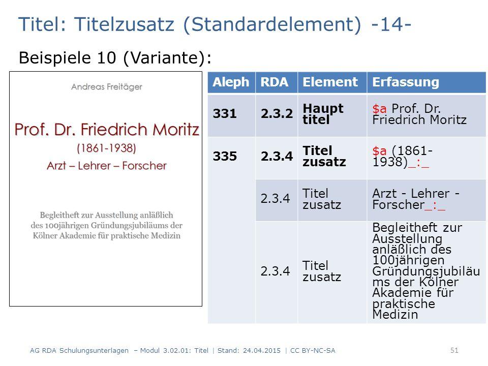Titel: Titelzusatz (Standardelement) -14- Beispiele 10 (Variante): AG RDA Schulungsunterlagen – Modul 3.02.01: Titel | Stand: 24.04.2015 | CC BY-NC-SA