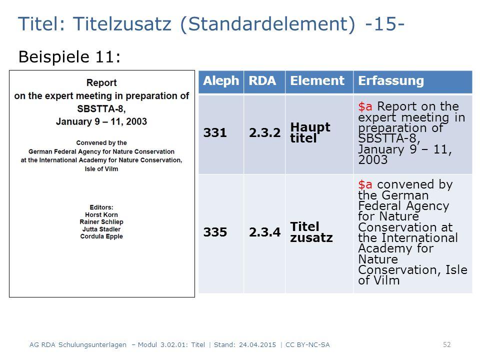 Titel: Titelzusatz (Standardelement) -15- Beispiele 11: AG RDA Schulungsunterlagen – Modul 3.02.01: Titel | Stand: 24.04.2015 | CC BY-NC-SA 52 AlephRD