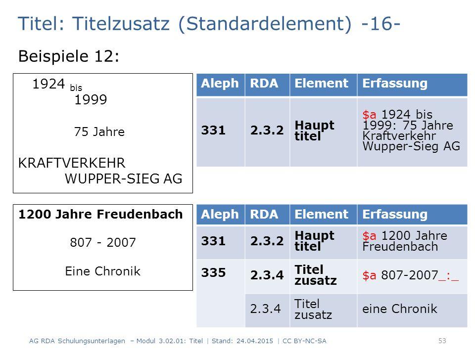 Titel: Titelzusatz (Standardelement) -16- Beispiele 12: AG RDA Schulungsunterlagen – Modul 3.02.01: Titel | Stand: 24.04.2015 | CC BY-NC-SA 53 AlephRD