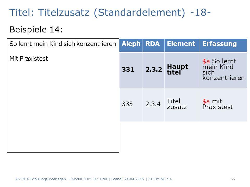 Titel: Titelzusatz (Standardelement) -18- Beispiele 14: AG RDA Schulungsunterlagen – Modul 3.02.01: Titel | Stand: 24.04.2015 | CC BY-NC-SA 55 AlephRD