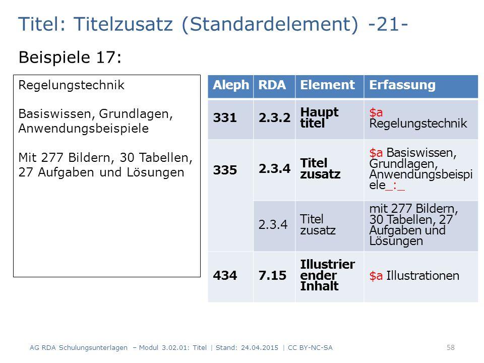 Titel: Titelzusatz (Standardelement) -21- Beispiele 17: AG RDA Schulungsunterlagen – Modul 3.02.01: Titel | Stand: 24.04.2015 | CC BY-NC-SA 58 Regelun