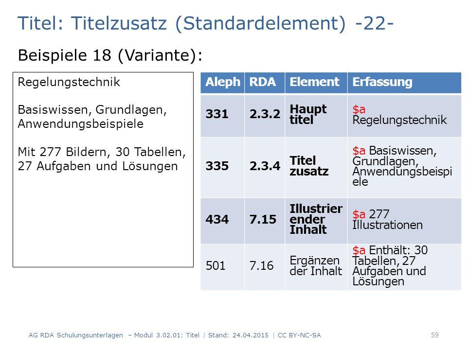 Titel: Titelzusatz (Standardelement) -22- Beispiele 18 (Variante): AG RDA Schulungsunterlagen – Modul 3.02.01: Titel | Stand: 24.04.2015 | CC BY-NC-SA