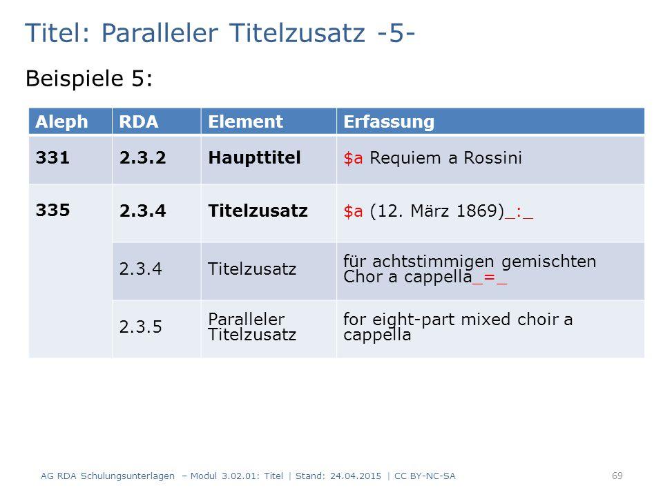 Titel: Paralleler Titelzusatz -5- Beispiele 5: AG RDA Schulungsunterlagen – Modul 3.02.01: Titel | Stand: 24.04.2015 | CC BY-NC-SA 69 AlephRDAElementErfassung 3312.3.2Haupttitel$a Requiem a Rossini 335 2.3.4Titelzusatz$a (12.